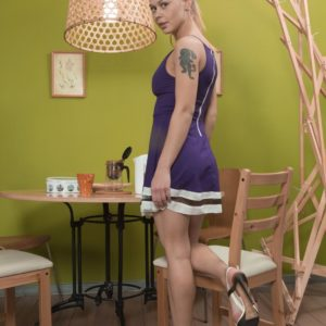 Blonde European first-timer Nikitina loosing fur covered twat from underwear in high heels