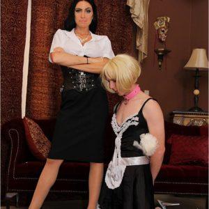 Bossy type brunette gf Emmanuelle London abasing crossdressing sissy maid