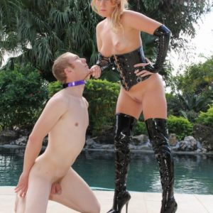 Callous light-haired mistress Ashley Edmunds demeaning collared subby husband