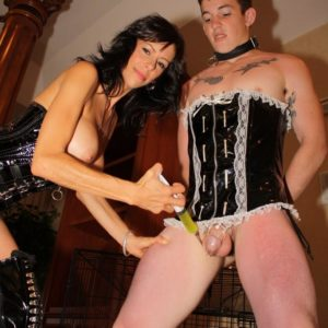 Chesty brown-haired gf Alexis Faux having sexy legs and honeypot attended to by sissy maid