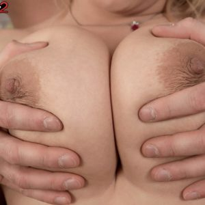 Chubby ash-blonde solo girl Veronika unleashing enormous breasts from bra before giving funbag bang