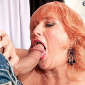 Lumbering red-haired grandmother Jackie having immense tits sucked before delivering immense cock BJ
