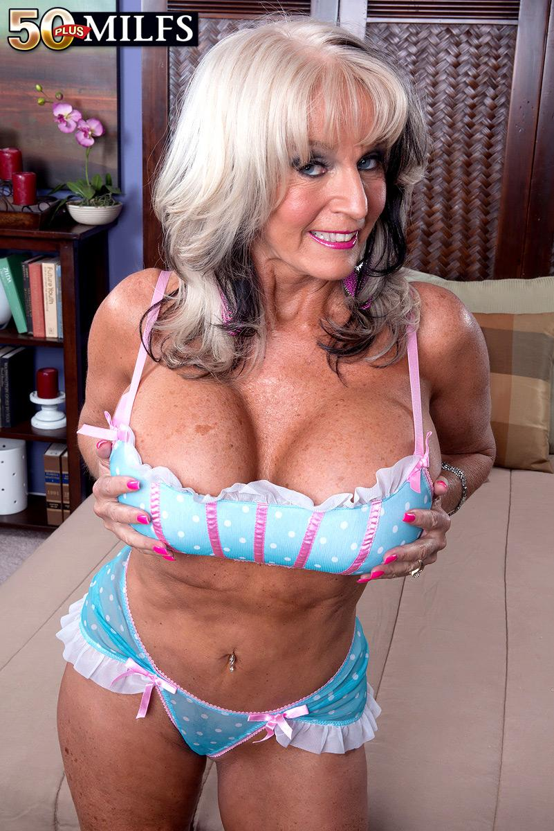 50MILF.com Magnificent over 50 MILF Sally D'Angelo showcasing enormous fun bags while  seducing stud for