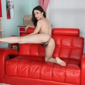 Petite brunette amateur Luna showing off furry underarms and hairy pussy