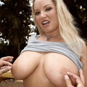 Plump light-haired MILF Rachel Love revealing ultra-cute juggs outdoors for nipple licking