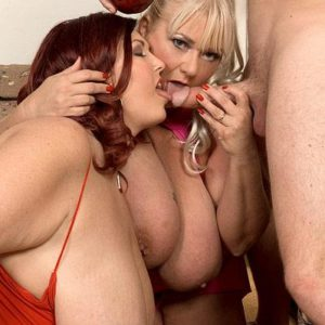 Plus-sized gals Shugar and Peaches LaRue providing long penis oral pleasure while tonguing food