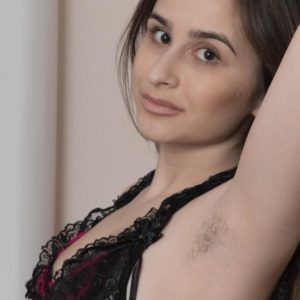 Spindly European amateur Penelope Fiore showcasing furry pits and spread cooch