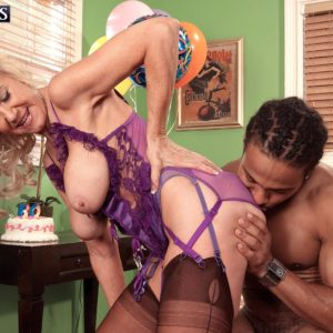 Stocking and lingerie garbed experienced sandy-haired Summeran Winters having multiracial sex