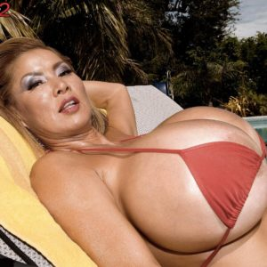 Top heavy Japanese solo female Minka greasing enormous bikini garmented melons outdoors by pool