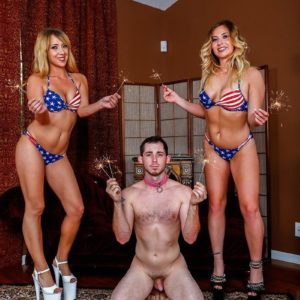 Yellow-haired mistress Mickey Tyler and bathing suit outfitted girlfriend lead collared masculine submissive on leash