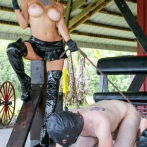 Big-chested blonde Dom Alexis Fawx leading 2 masked masculine sex submissives on leashes