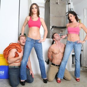 Dressed babes Dava and Molly dominate collared sissy guys in high heels and denim jeans