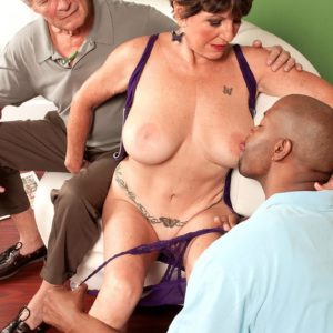 Huge-titted MILF over 60 Bea Cummins fucking BBC while cuckold hubby watches