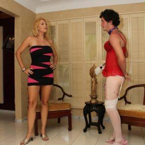 Long-legged blonde wife Charlee Chase teaching crossdressing sissy maid