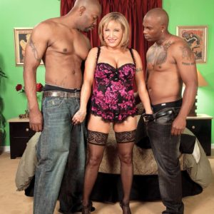 Chesty light-haired MILF over sixty Luna Azul ravaged by giant black junk during bi-racial MMF