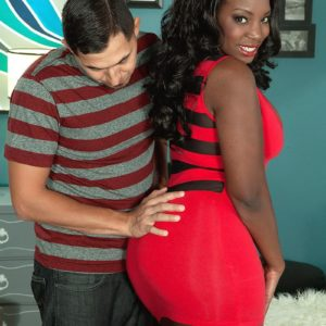 Curvy ebony MILF Mia Milan having her giant tush freed from short sundress and panties