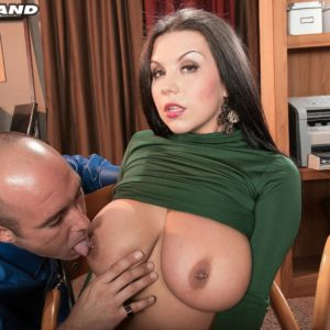 Enormous breasted dark haired MILF Sheridan Enjoy unclothed naked by coworker in work environment