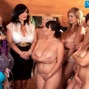 MILF pornostar Valory Irene and wives reveal humungous knockers and bare backsides together