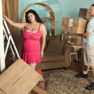 Brown-haired Latina plumper Haydee Rodriguez revealing huge funbags from sundress