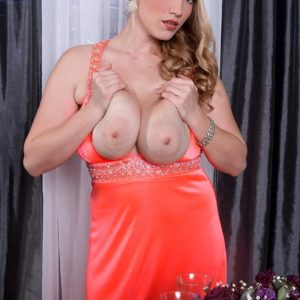 Golden-haired MILF Melissa Manning flaunting up micro-skirt skivvies before releasing enormous juggs