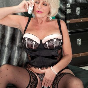 Phat mature gal Fantasy Collins seducing younger dude with monster-sized knob in lingerie