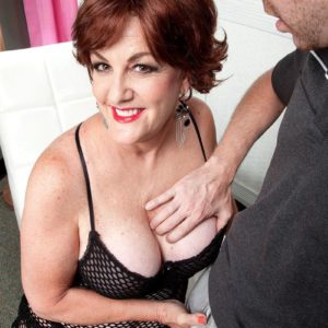 Redhead grandmother Gabriella LaMay loosing huge funbags and nipples from bodystocking