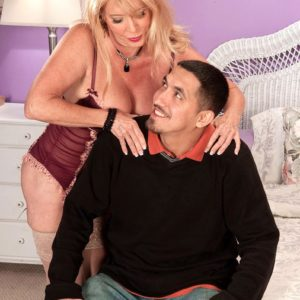 Stocking and lingerie garmented 60 plus MILF Lexi McCain offering super-cute butt for sex