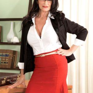 Leggy brunette Rita Daniels demonstrating older upskirt panties before MMF 3some