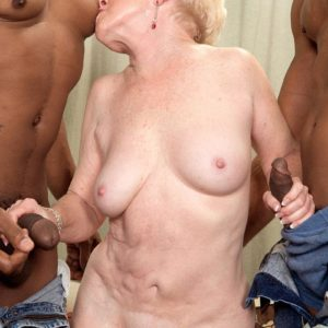 Insatiable grandmother Jewel hooks up with 2 monster-sized black sausages for MMF 3some dream