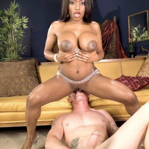 Black MILF XXX actress Jada Fire tit throttling milky man before deep throating cock