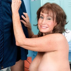 Over Sixty MILF Jacqueline Jolie displaying bum in shorts while freeing giant experienced tits