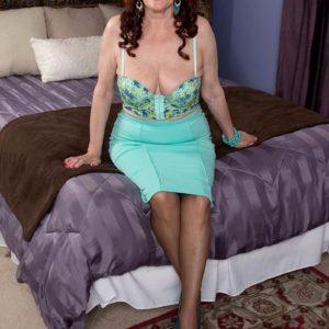 Big-chested ginger-haired MILF over Sixty Katherine Merlot providing monster-sized boner boob fucking in pantyhose