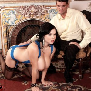 Brunette solo girl Shione Cooper munching knob while flashing cute funbags in tights