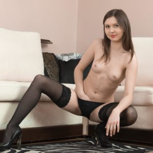 Gawky European first timer Slava Sanina showcasing fur covered gash in ebony hosiery