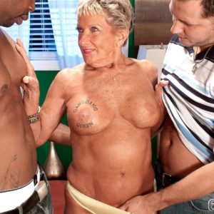 Huge-chested over 70 grandmother Sandra Ann stripped for bi-racial MMF threesome sex