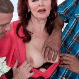 Redheaded granny Katherine Merlot freeing gigantic bum before multiracial MMF Threesome