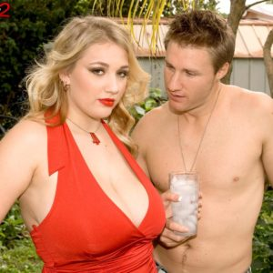 Round golden-haired stunner Shyla Shy baring giant funbags and hard nipples outdoors