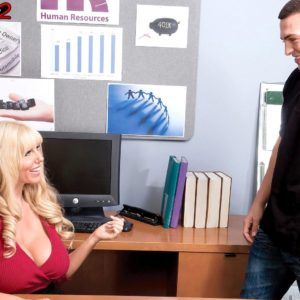 Sandy-haired boss dame Karen Fisher revealing enormous knockers while seducing employee
