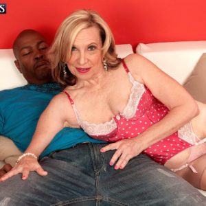 Stocking and high heel garmented MILF over Sixty Miranda Torri having xxx interracial sex