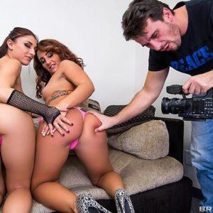 Adult video starlets Mischa Brooks and Savannah Fox do anal sex in a rock-hard three-way bang