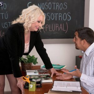 Chesty yellow-haired sixty plus MILF professor Angelique DuBois wanking large penis in classroom