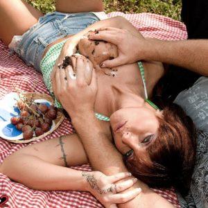 Gorgeous MILF Sarah Sunshine has her hefty natural juggs fondled outdoors