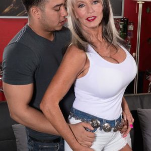 Tall 60 plus MILF Sally D'Angelo unveiling enormous experienced hooters before milking boner