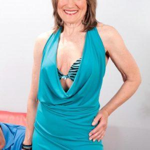 Hose attired grandmother Donna Davidson disrobed for sex by junior dude
