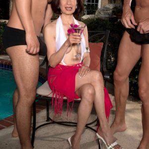 Over sixty Asian MILF Kim Anh stroking off humungous hard-ons outdoors before MMF sex