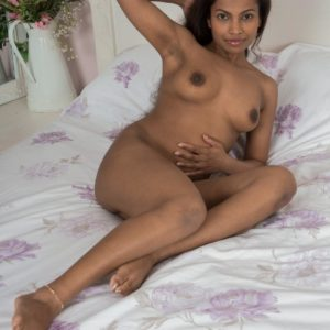 Shoeless ebony first-timer Alishaa Mae letting out giant titties and hairy cootchie from lingerie