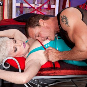 Short haired grannie Jewel liking gonzo Domination & obedience sex in latex sundress and tights