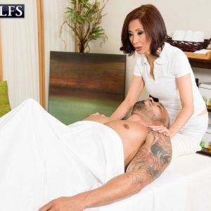 Tiny Japanese grandmother Kim Anh delivering large prick hj and ORAL JOB during massage
