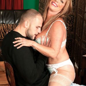 Wondrous MILF over 60 Lexi McCain seducing younger man in white tights and lingerie