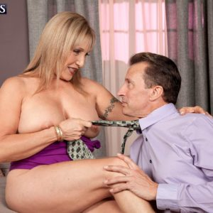 Ash-blonde granny Luna Azul uncovering giant all natural breasts for nipple licking seduction